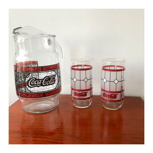 Vintage Coca-Cola Pitcher With 2 Drinking Glasses - Stained Glass Tiffany Style for Sale in Arlington, VA