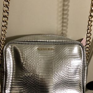 Victoria's Secret Metaillc Croc Silver Crossbody Bag Gold Chain Strap Purse for Sale in Salt Lake City, UT