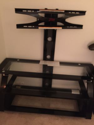 TV Stand with Glass Shelves - Holds upto 55 inch TV for Sale in Young, AZ
