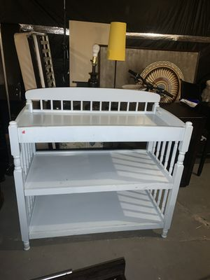 White changing table with storage shelves for Sale in Lyndhurst, NJ