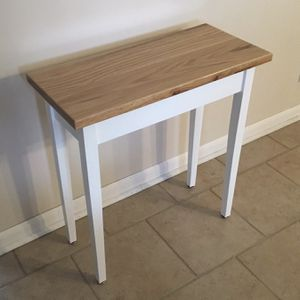 """24"""" Oak Top Wood Modern White Sofa Entry Hallway Accent Side Table $50 for Sale in Arlington Heights, IL"""