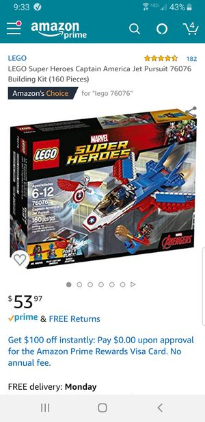 Lego Super Heroes 76076 Captain America Jet Pursuit for Sale in Tacoma, WA