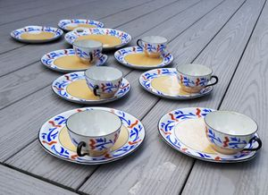 ART DECO GERMAN LUSTERWARE SNACK SET FOR 6 for Sale in Concord, MA