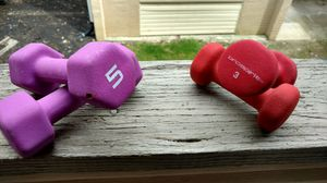 Set of 4 purple and red 3 lb and 5 lb dumbbell set for Sale in Columbus, OH