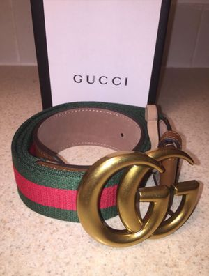 Gucci Red/ Green Brown Textured Leather Trim Belt Authentic for Sale in Queens, NY