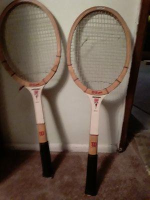 Old wood bats tennis racket for Sale in Auburn, WA