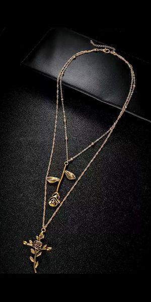 Rose and Cross Multi Layer set Necklace and pendants brand new ( Alloy material) / cadena de fantasía nueva $12 for Sale in Fullerton, CA