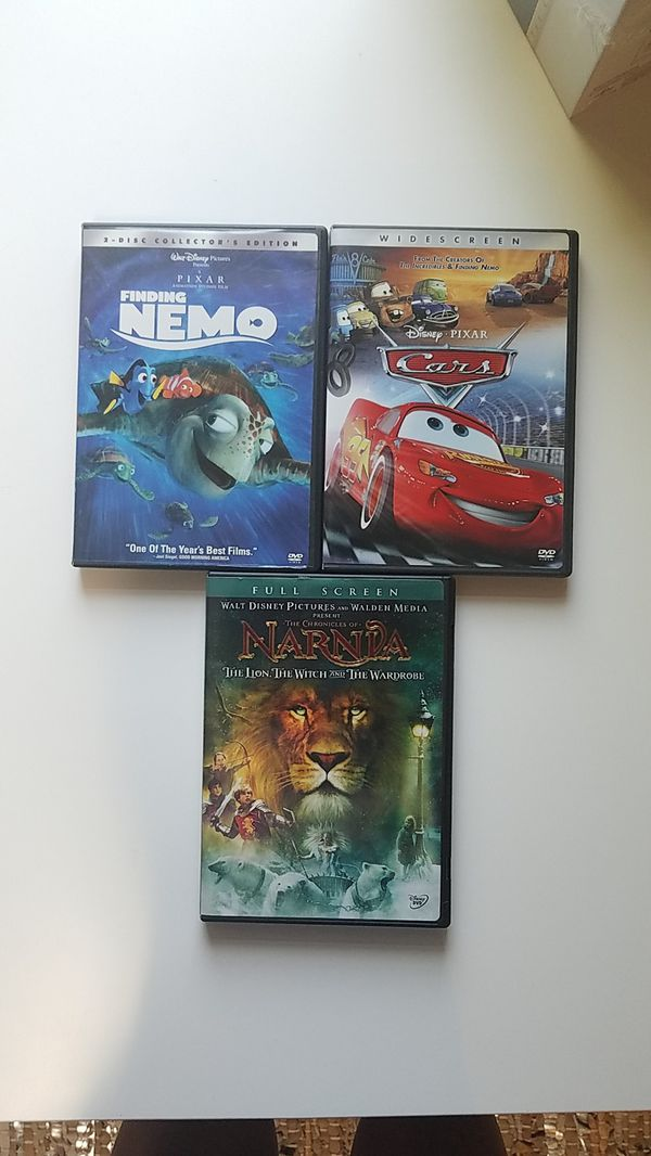 Chronicles of Narnia, Finding Nemo, Cars DVDs