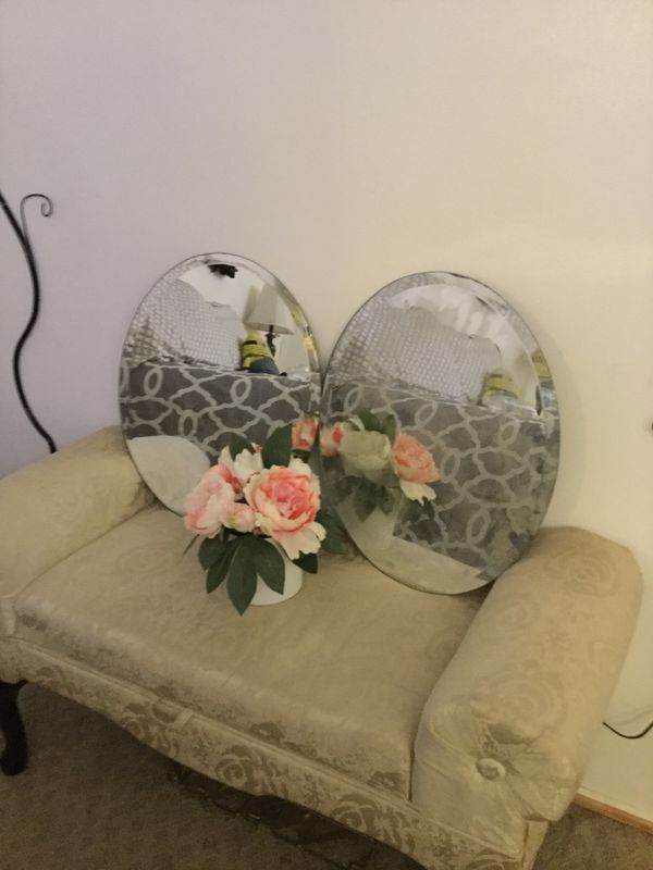 Pair Oval Mirrors