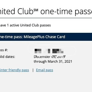 United Club One Time pass for Sale in Sunnyvale, CA
