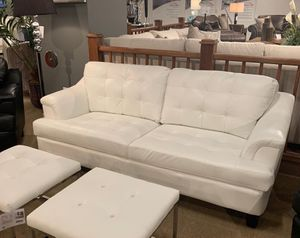 White faux leather white sofa seating livingroom couch 3 pool new for Sale in Miami, FL