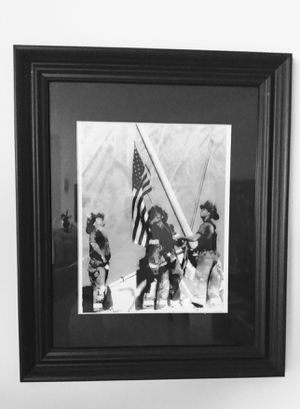 9-11 Framed Print - NY The Raising of the USA Flag over Ground Zero for Sale in Palm Beach Shores, FL