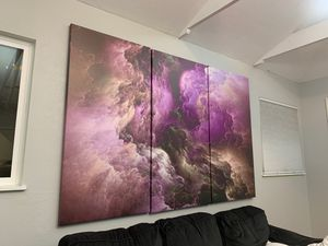 Custom print 82x54 3 piece canvas set abstract art high quality large for Sale in Pinole, CA