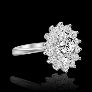 2.5 CT. Radiant Oval Halo Engagement Sterling Silver Ring Simulated Diamond - Diamond Veneer. 635R3229 for Sale in San Francisco, CA