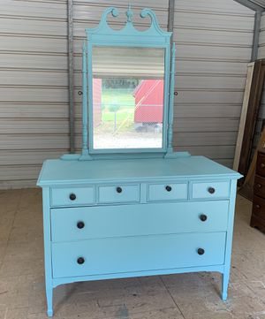 Teal dresser with mirror for Sale in Fayetteville, TN