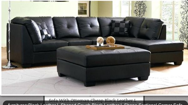 L shaped leather black couch leather ottoman included