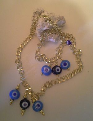 Greece evil eye necklace and bracelet. Handmade. for Sale in Auburndale, FL