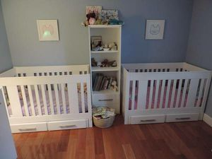 Twins Kids Baby Bedroom Set Cribs Dresser Cabinet for Sale in Arlington, MA