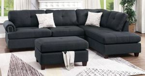 Brand new linen sectional sofa with storage ottoman for Sale in Silver Spring, MD