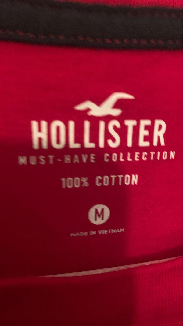 All red hollister shirt