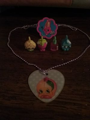 Shopkins necklace, ring, & 4 charms for bracelet for Sale in Kingsport, TN
