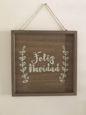 FELIZ NAVIDAD wooded hanging frame. Beautiful ! 22.5 x 17.5 in. NEW for Sale in Fort Lauderdale, FL