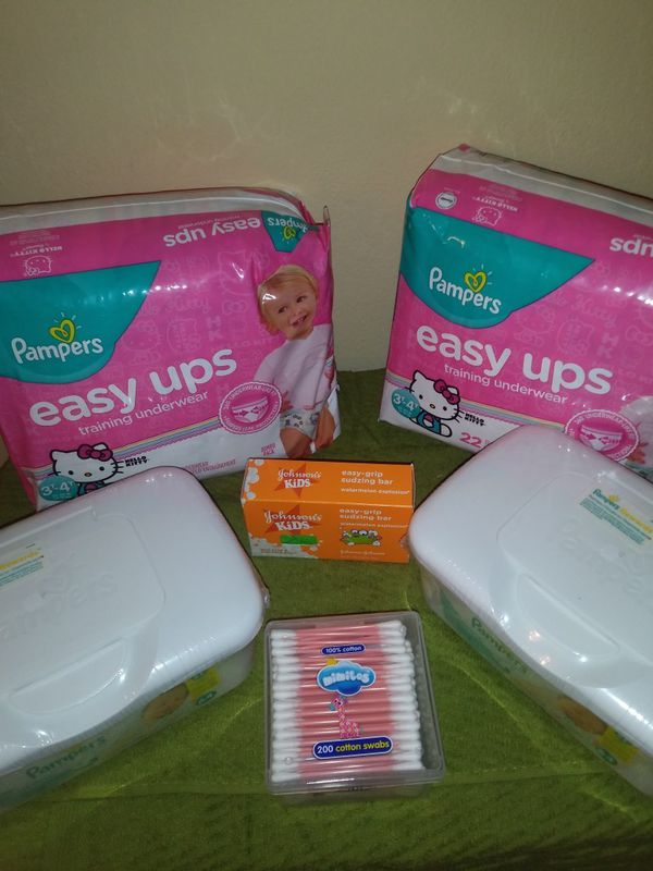 2 easy up 3T 4T for girls two Pampers diaper wipes Q-tips and a Johnson baby soap