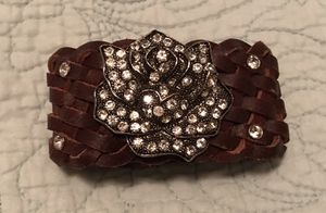 Charming Charlie • Genuine Leather • Brown & Silver • Rose • Jewels • Braided • Bracelet for Sale in Houston, TX
