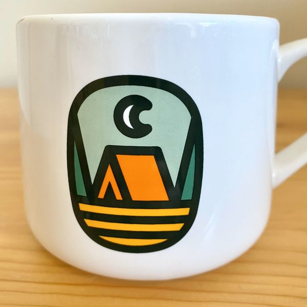 New created co the great outdoors camping tent coffee mug