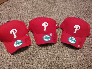 Autographed Phillies baseball hats have certificate of authentications for Sale in Upper Gwynedd, PA