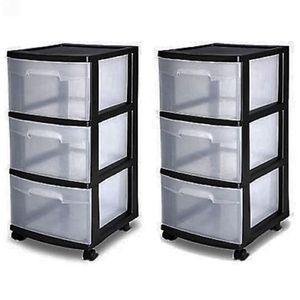 3 Drawer Organizer Cart Black Plastic Craft Storage Container Rolling Bin Set 2 for Sale in Stamford, CT