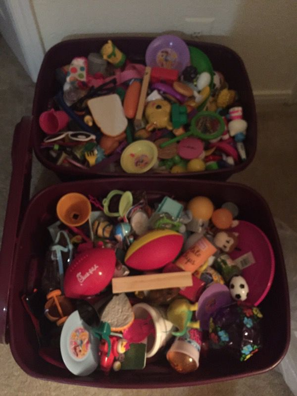 Two bins of assorted toys