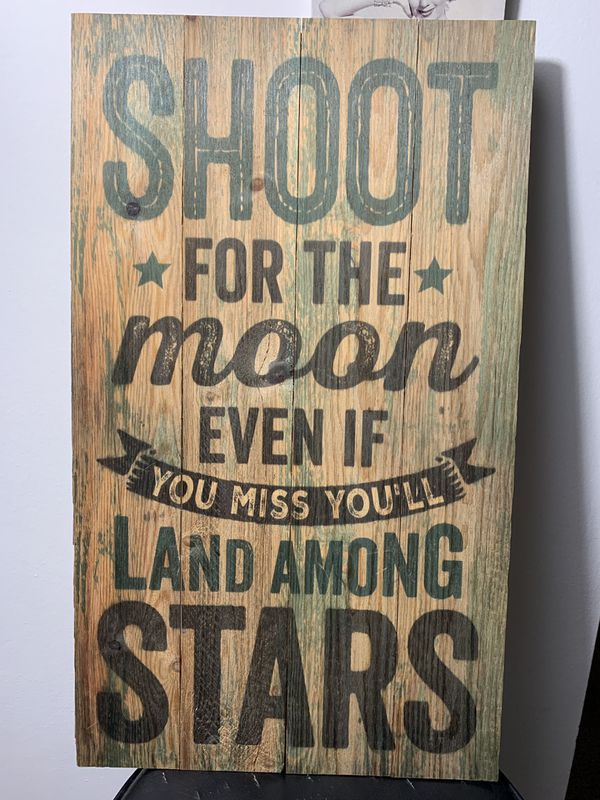 """""""Shoot for the moon"""" pallet sign, wood sign, home decor, rustic,"""