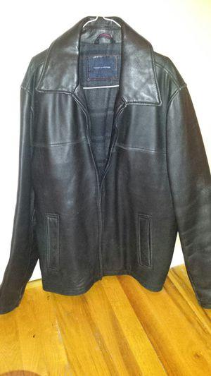 Men's Tommy Hilfiger Black Leather Jacket for Sale in Chicago, IL