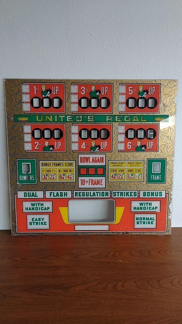 United's Regal Bowling Pinball Machine Glass