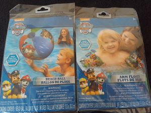 New Paw Patrol Arm Floats and Beach Ball for Sale in El Cajon, CA