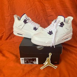 NEW Nike Air Jordan Retro 4 Metallic Purple Kids Size 4.5Y (Fits women's size 6) - 100% Authentic for Sale in Miami, FL