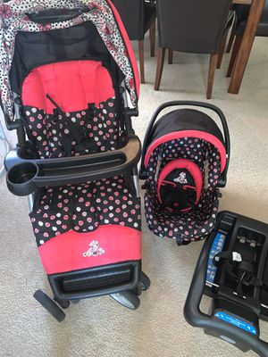 Disney Minnie Mouse Single Stroller, Car Seat, & Car Seat Base for Sale in Fishers, IN