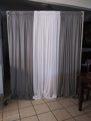 New set 2 silver 1 curtain white $30.00 firm price stand not for Sale for Sale in Fontana, CA