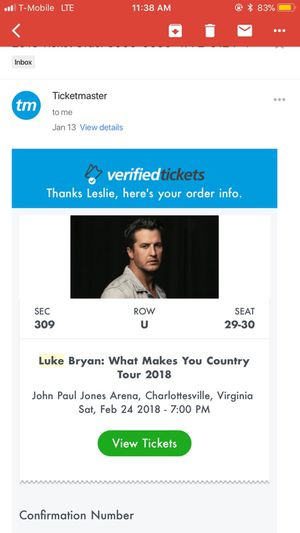 2 Luke Bryan Tickets for tomorrow! for Sale in Henrico, VA