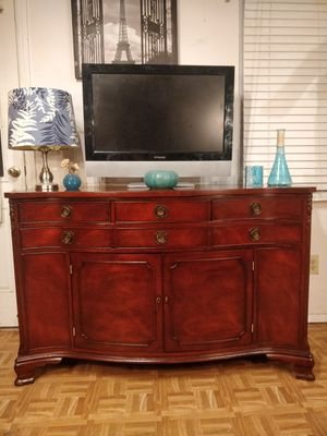 Solid wood MORGANTON buffet/TV stand with drawers, shelves & 2 doors cabinet, all drawers working well dovetail drawers, let me kno for Sale in Annandale, VA