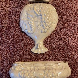 3 Piece Ceramic Wine Font Planter/Wall Pocket for Sale in Salem, OR