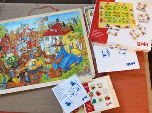 Goki Wooden Game Bundle of 3-Find a way & puzzle & Match for Sale in Jersey City, NJ