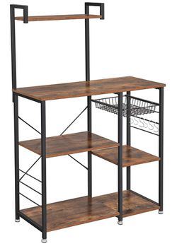 🔥BRAND NEW Baker's Rack with Shelves, Kitchen Shelf with Wire Basket, 6 S-Hooks, Microwave Oven Stand, Utility Storage for Spices, Pots, and Pans, Ru for Sale in Coldwater,  MI