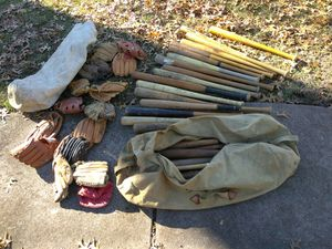 BASEBALL GEAR WOODEN BATS AND GLOVES READ DETAILS for Sale in University City, MO
