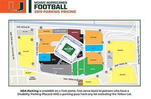 1 Miami Hurricanes vs Georgia Tech Green Parking Pass 10/19 for Sale in Miramar, FL