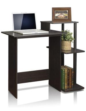 Computer desk workstation table - multiple shelves, dark brown for Sale in Jersey City, NJ