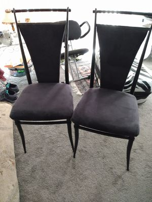 2 metal chairs velvet seat and back for Sale in Alexandria, VA