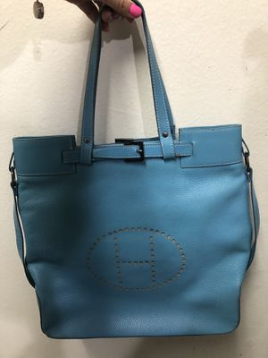 Blue heavy leather women bag big size. for Sale in Los Angeles, CA