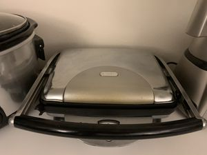 Kitchen appliances crockpot, juicer, panini maker, spice rack, air conditioner, barbecue, curtains, serving treys for Sale in Newport Beach, CA
